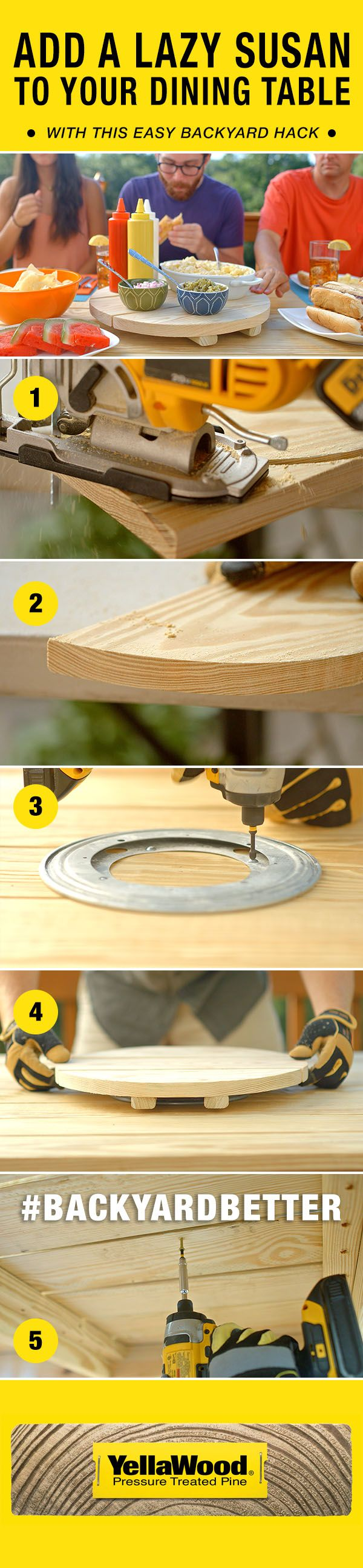 Add an extra star to your outdoor dining and relaxing with this easy Lazy Susan dining table backyard hack. #backyardbetter