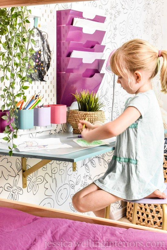 This cheap and easy wall mount kids desk tutorial is a quick DIY! It's perfe…