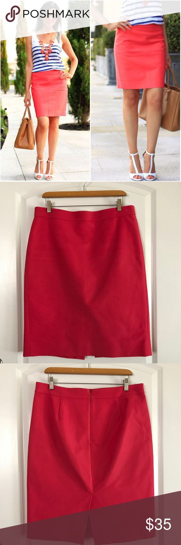 "J Crew No. 2 Pencil Skirt in Pink Amazing high quality pencil skirt from J Crew. Back zipper and slit. Made of cotton. Fully lined. Small spot of front of skirt (pic included). Across waist 17"", length 24"" J. Crew Skirts Pencil"