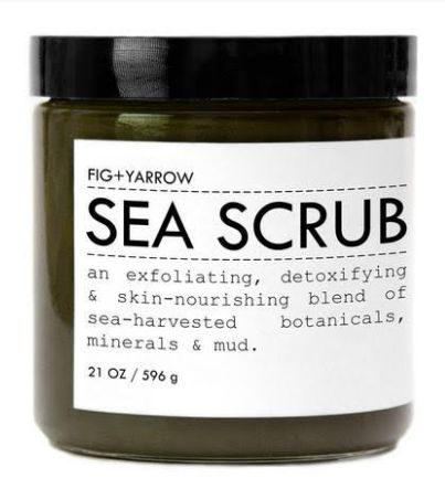 Fig+Yarrow This scrub is almost as good as taking a dip in the ocean. Sea-harvested minerals and botanicals are blended with essential oils to create an effective exfoliator. It even has some mud in it for a bit more messy fun.