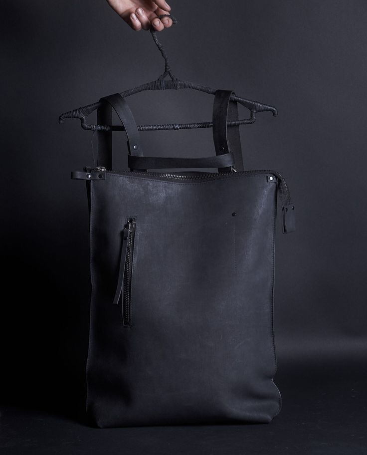 """Leather rucksack 072Y - black – by independent designer ytn7, €277 at Vathir.com   Very comfortable and roomy backpack. It is big enough to fit A4 folder, 15"""" laptop.  Large hand dyed leather backpack - Large main compartment lined with an off black cotton - Single interior pocket  - Large zipper closure pocket to the front - Belt leather handles - Zipper closure to the main..."""