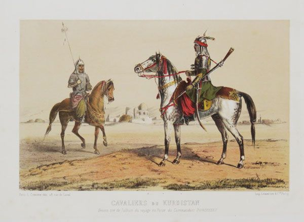 Cavaliers du Kurdistan][Dessin tiré de l'album du voyage en Perse du Commandant Duhousset][Paris, L. Cremière édit 28 rue de Laval Imp. Lemercier & C.ie Paris] Chromolithograph, Kurdish subject after a drawing by Emile Duhousset, a commandant in the French army who was part of the French military mission to Persia in 1859-60. In Persia he was appointed as Master-of-Arms to the Shah, and made numerous drawings recording his experiences.