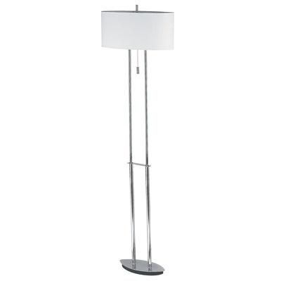 """Dainolite Transitional Two Light Floor Lamp with Oval Linen Shade in Polished Chrome -- Wayfair $228 Specifications:  Accommodates (2) 60W tri-light bulbs (not included)  Shade dimensions: 18"""" W x 18"""" D  Overall dimensions: 57"""" H x 11"""" W"""
