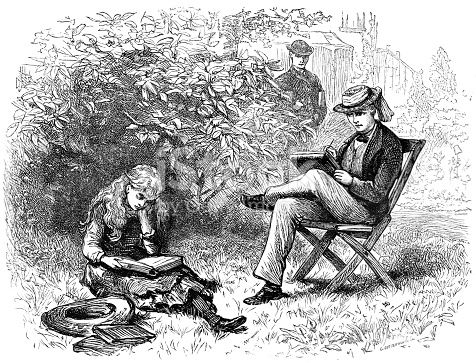 19th C Illustration Of A Young Man Sat In A Chair Sketching A Young Girl Sat Reading Another Man Watches On Victorian Family Life And Story Illustrations 1883 stock vector art 843371204 | iStock