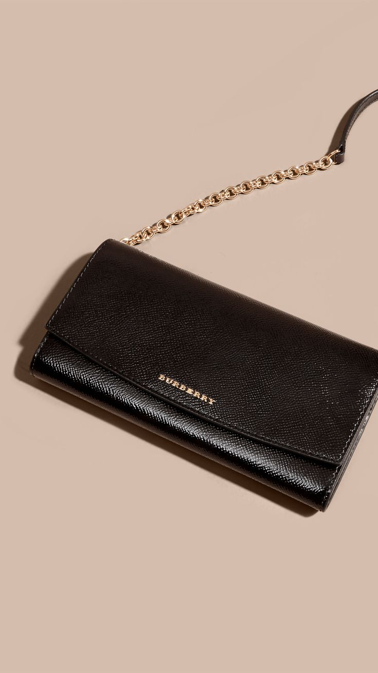 Leather Wallet with Chain Black | Burberry
