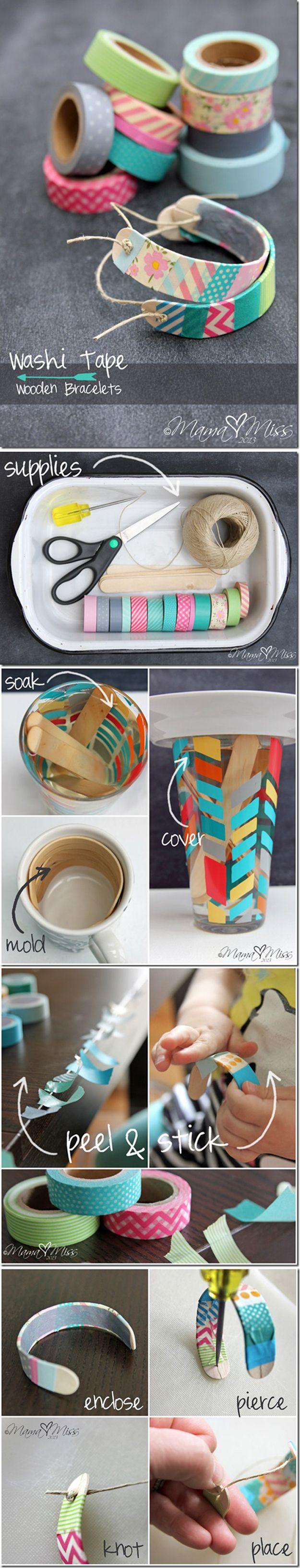 DIY Washi Tape Jewelry   Washi Tape Wooden Bracelets by DIY Ready at http://diyready.com/100-creative-ways-to-use-washi-tape/