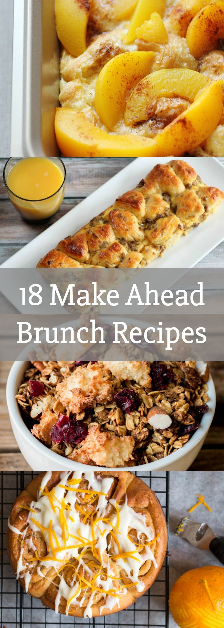 18 Make Ahead Brunch Recipes- Breakfast, brunch ideas, party ideas, Easter, recipes, casseroles, oatmeal, cinnamon rolls, sweets, food, bread, fruit, eggs, bacon, quiche via @LovePastaBlog
