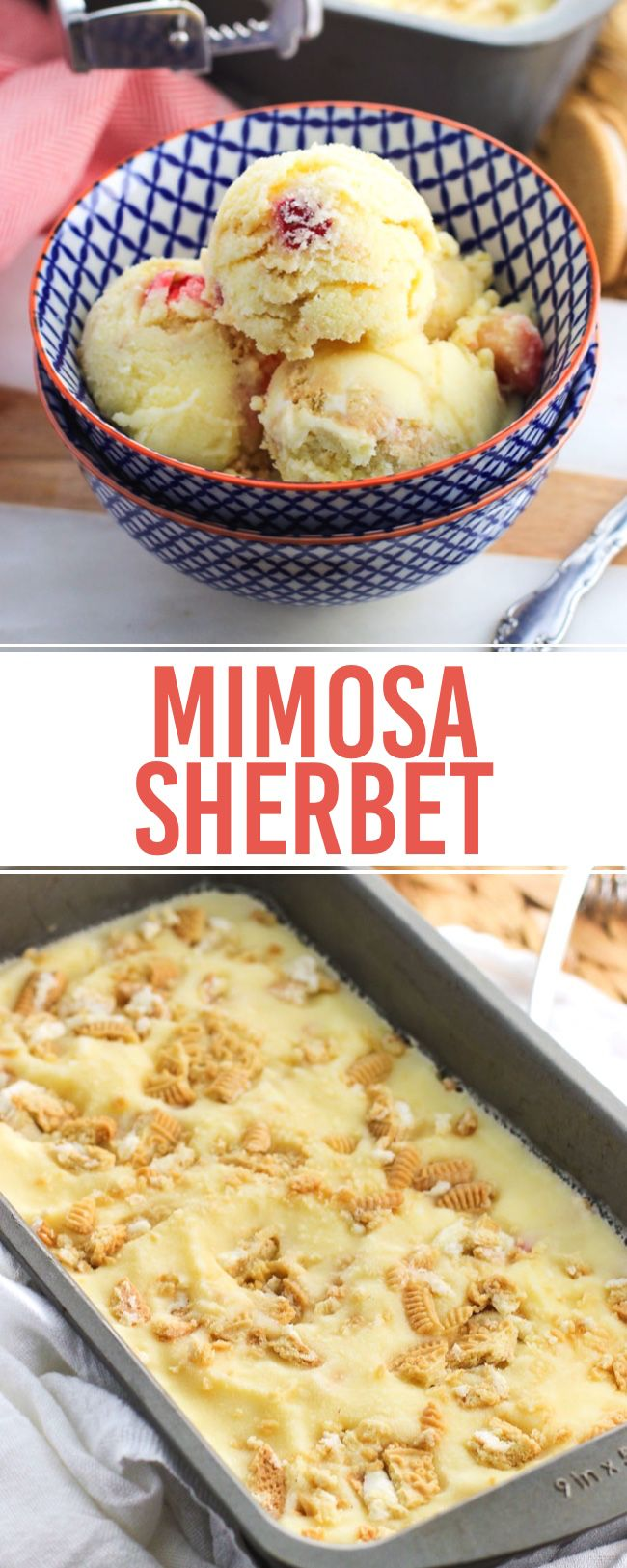 This mimosa sherbet is a dessert version of a favorite brunch cocktail. Creamy sherbet is flavored with orange juice and champagne and swirled with strawberries and vanilla cookies.