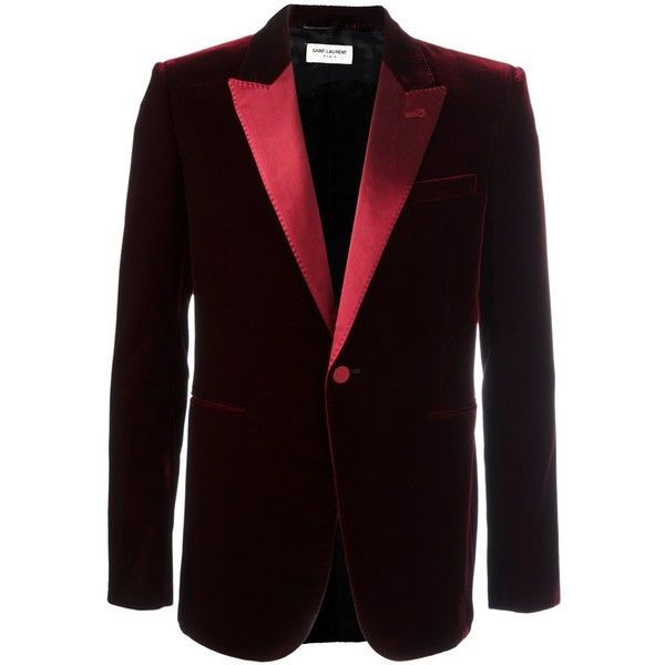 Saint Laurent 'Iconic Le Smoking' 70's velour jacket (4.605 BRL) ❤ liked on Polyvore featuring men's fashion, men's clothing, men's outerwear, men's jackets, red, mens velour jacket and mens red jacket