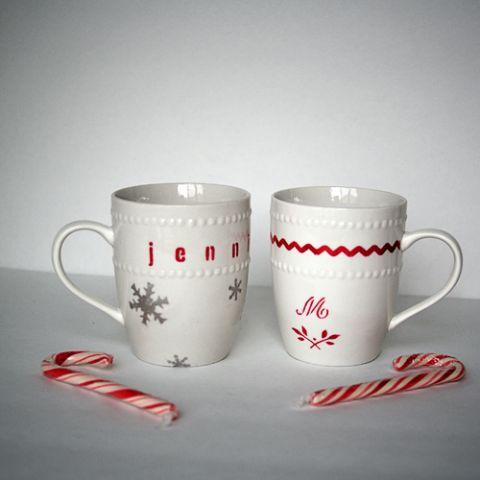 #DIY #Christmas #Gift Stenciled Dollar Store Mugs #MarthaStewartHoliday