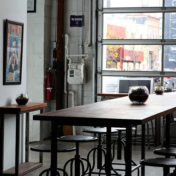 The industrial-look, inspired by the neighbouring factories, continues inside with salvaged materials from the re-purposed workshops providing much of the interior fixtures and fittings...