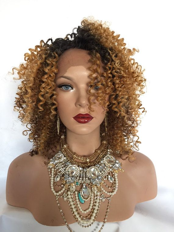 Brown Blonde Highlight  Water Wave Curly Lace Part by TurtlesCandy