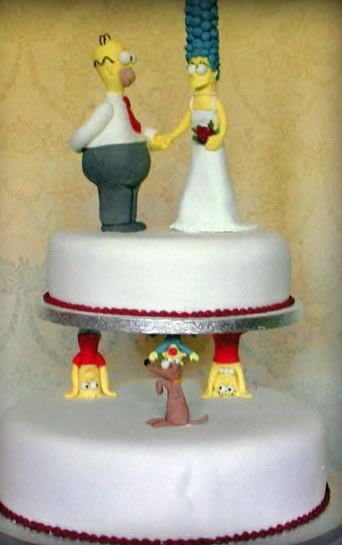 simpsons cartoon wedding cake