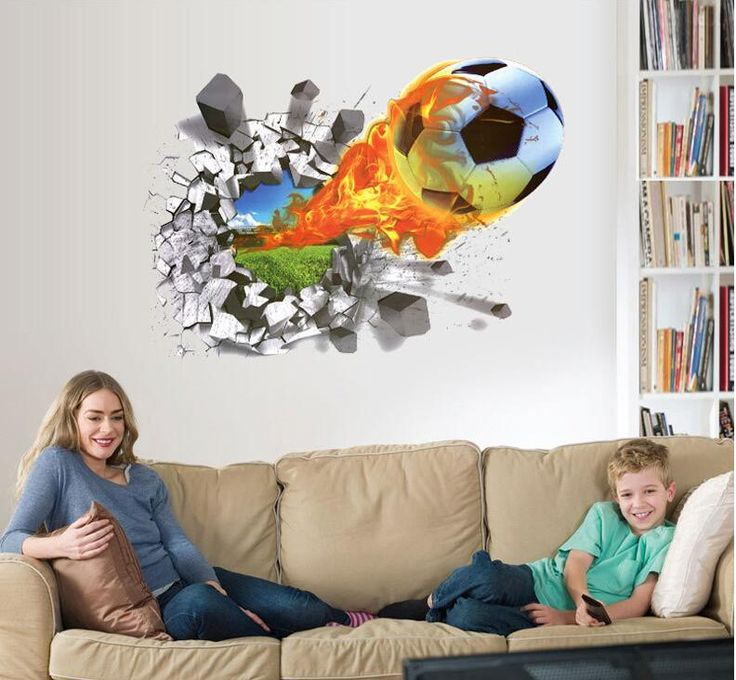 The new football TV background wall stickers bedroom wall stickers football stickers home decoration by children's room wall
