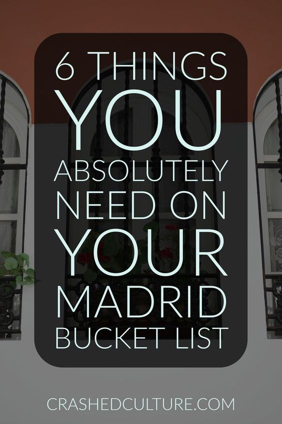 Planning to visit Madrid? Here's a list of things you need on your Madrid bucket list. Don't miss these things, or you'll miss out on a lot! via /crashedculture/
