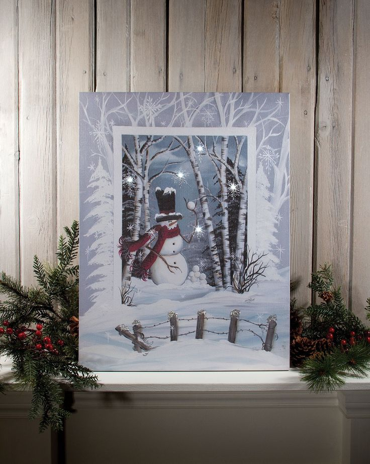 Shelley B Home and Holiday - Radiance Lighted Canvas Snowball Snowman, $37.00 (http://shelleybhomeandholiday.com/radiance-lighted-canvas-snowball-snowman/)