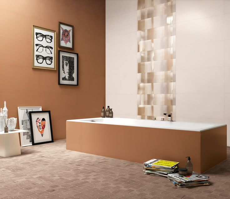 Questo bagno è stato realizzato con il colore Reddish della nostra collezione da rivestimento Visual Design.   http://www.supergres.com/your-home/rivestimenti/item/925-visual  #Bathroom #RivestimentoBagni #WallTiles #CeramisOfItaly