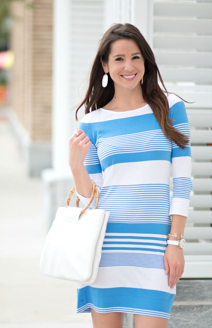 Nautical Lilly Pulitzer t-shirt dress with all white accessories. Such a cute Labor Day outfit idea!
