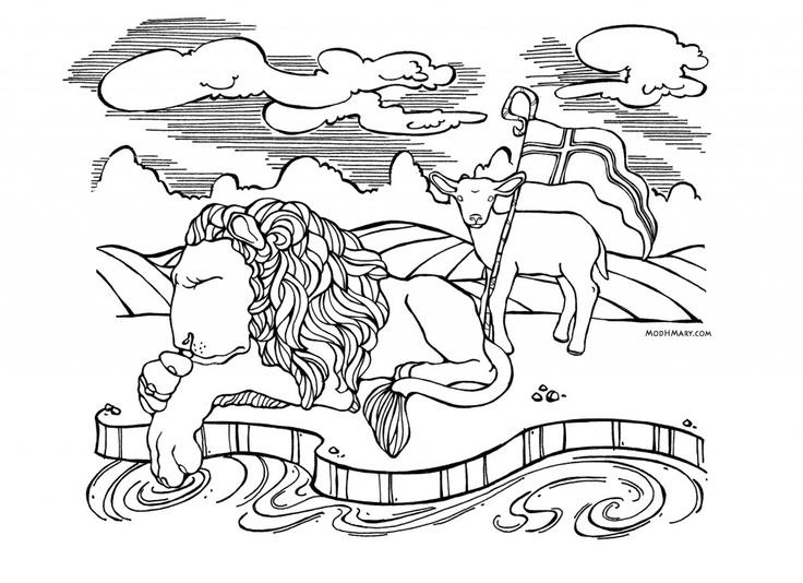 Lion Lamb Catholic Coloring Page