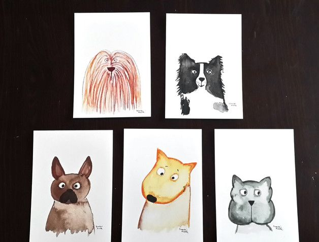 Fünf Freunde sollt Ihr sein  5er-Set Postkarten mit putzigen Fiffis   Digitaldrucke meiner Aquarelle  DIN A6 gross, Vorderseite glänzend, Rückseite matt und beschreibbar  Farben können je...
