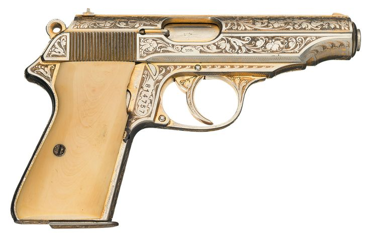Rare Historic Factory Engraved Walther PP Gold Plated Nazi Presentation Semi Automatic Pistol with Leather Holster and Spare Magazine