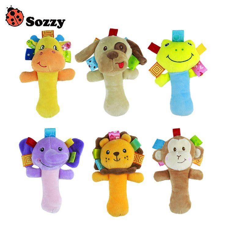 Sozzy 1pc Soft Baby Cute Animal Toy Gentle Rattle Squeaker Crinkle Sound Plush Rod Lion Monkey Elephant Frog Dog Giraffe Toy