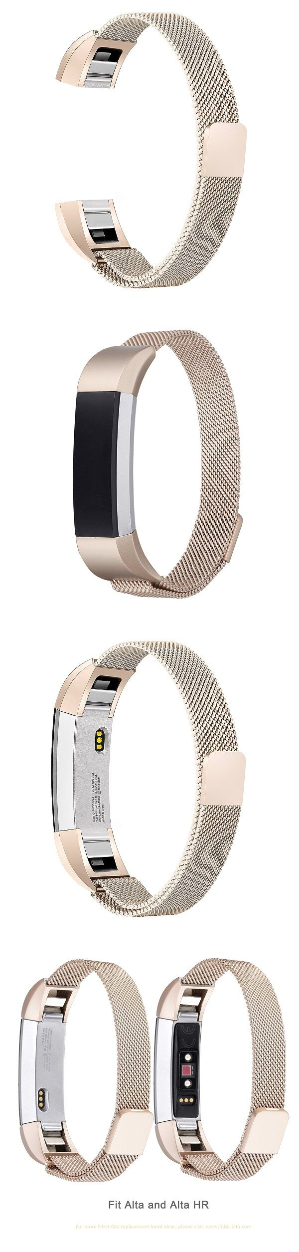 bayite Milanese Loop Stainless Steel Metal Bands for Fitbit Alta HR and Fitbit Alta - Champagne Gold  #fitbit #fitbitalta #fitbitaltahr #fitbitaltabands #altahr