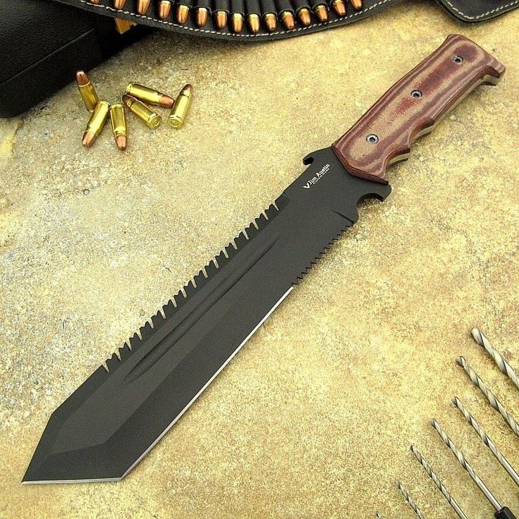 Jim Austin's Custom Made Black Coasting 1095 Steel Knife Machete OPS Survival