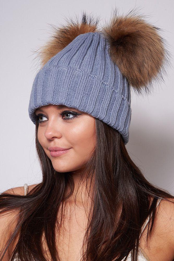 Masie Grey Double Fur Pom Pom Hat
