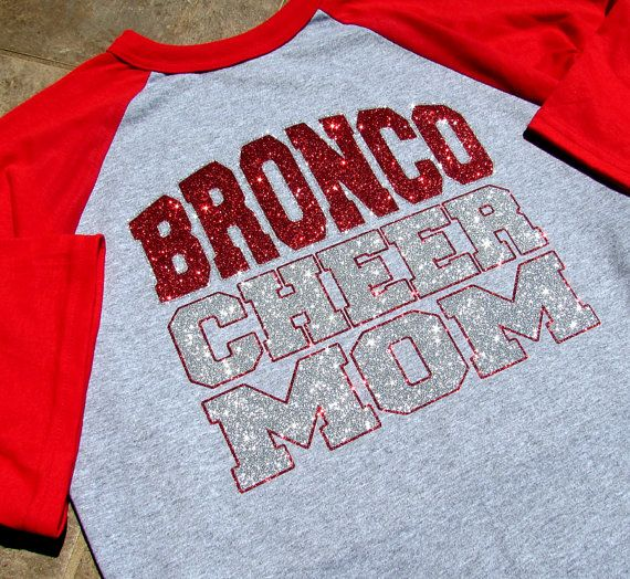 "Cheer Mom Shirt - Short Sleeve Raglan Jersey Style - Your Team-Squad & ""CHEER MOM"" Your Choice of Red or Blue Sleeves and Sparkling Glitter"