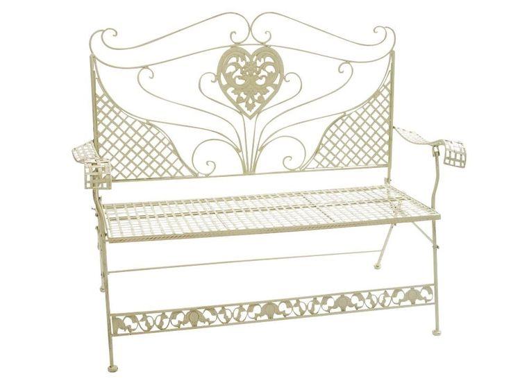 Beautiful Details zu Nostalgie Gartenbank Herz Blumen Eisen antik Stil creme weiss Gartenm bel Bank