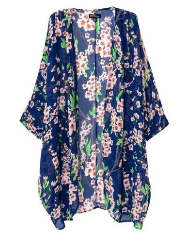 Chiffon Dark Blue with Blossums Cape – Bohemian Tapestry