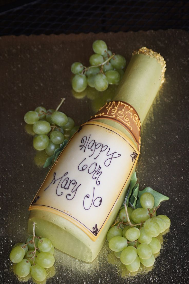 Wine Bottle Shaped Birthday Cake With Grapes Shaped