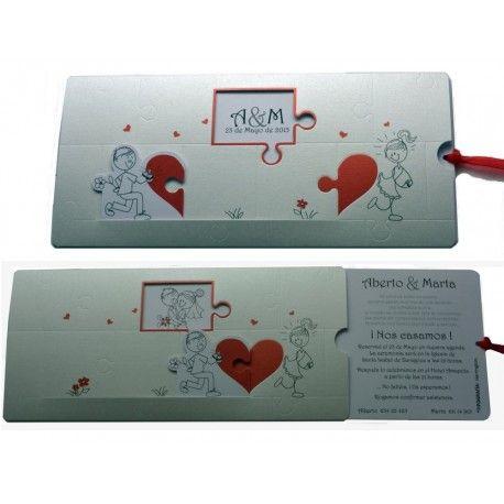 Invitacion de boda corazon puzzle