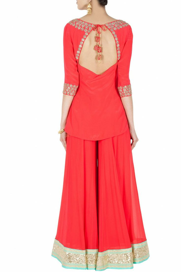 MADSAM TINZIN Red embroidered short kurta with sharara