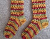 Yellow and red coloured socks