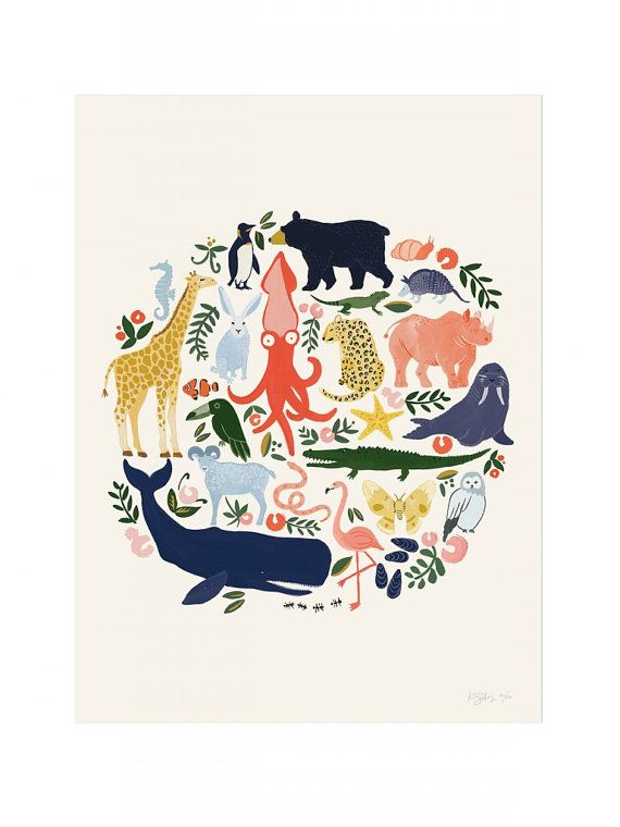 Large 'Animal Planet' Poster Print par IdlewildCo sur Etsy