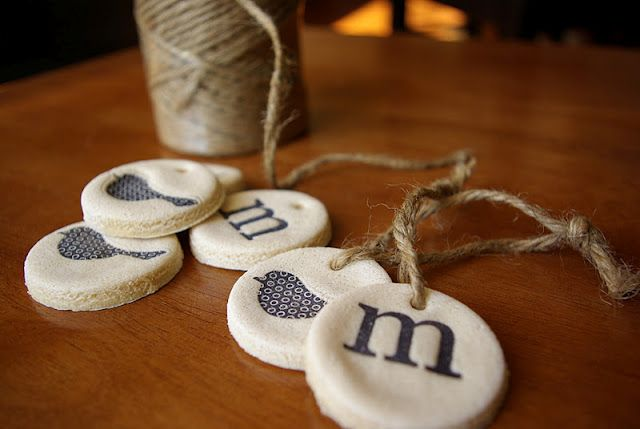 Salt water dough ornaments/tags.  These are so cute!