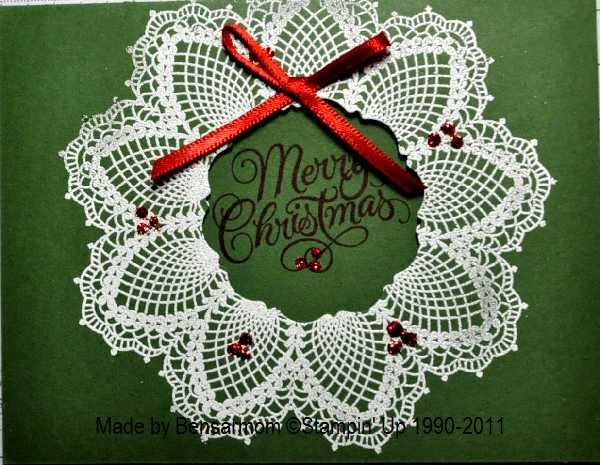 Christmas Craft Ideas With Paper Doilies : Doily christmas wreath bensarmom by cards and