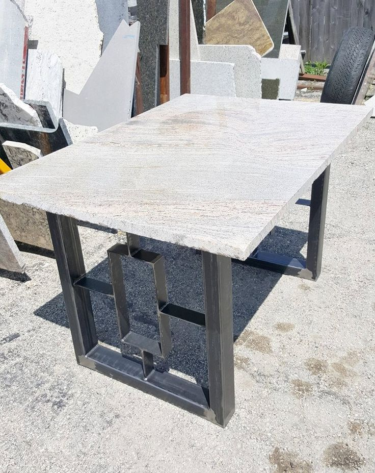 Modern Dining Table, Granite Top With Steel Square Legs