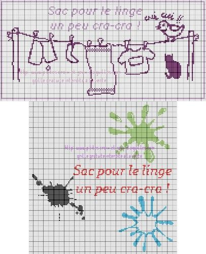 Ma fille partant en classe de neige, je vais lui réaliser un sac pour mettre son linge sale, une p'tite grille simple et rapide à broder s'imposait, j'ai également fait un modèle pour garçon...... ces grilles peuvent aussi servir pour les enfants qui...