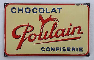 Ancienne plaque émaillée publicitaire CHOCOLAT POULAIN confiserie - Déco cuisine in Collections, Objets publicitaires, Plaques émaillées anciennes | eBay