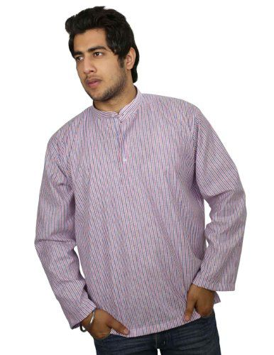Ethnic Indian Costume Cotton Shirt Blue Red Stripped Short Kurta XL ShalinIndia,http://www.amazon.com/dp/B00IKC90J2/ref=cm_sw_r_pi_dp_GSeHtb0PTYBA0A76