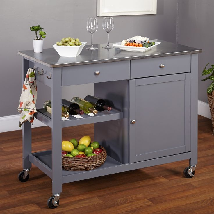 Simple Living Columbus Grey Kitchen Cart With Stainless Steel Top (Columbus Kitchen  Cart W/ Stainless Steel Top, Grey)