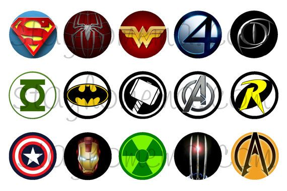 INSTANT DOWNLOAD One Inch 4x6 Bottle Cap Images: Superhero Logos on Etsy, $1.25
