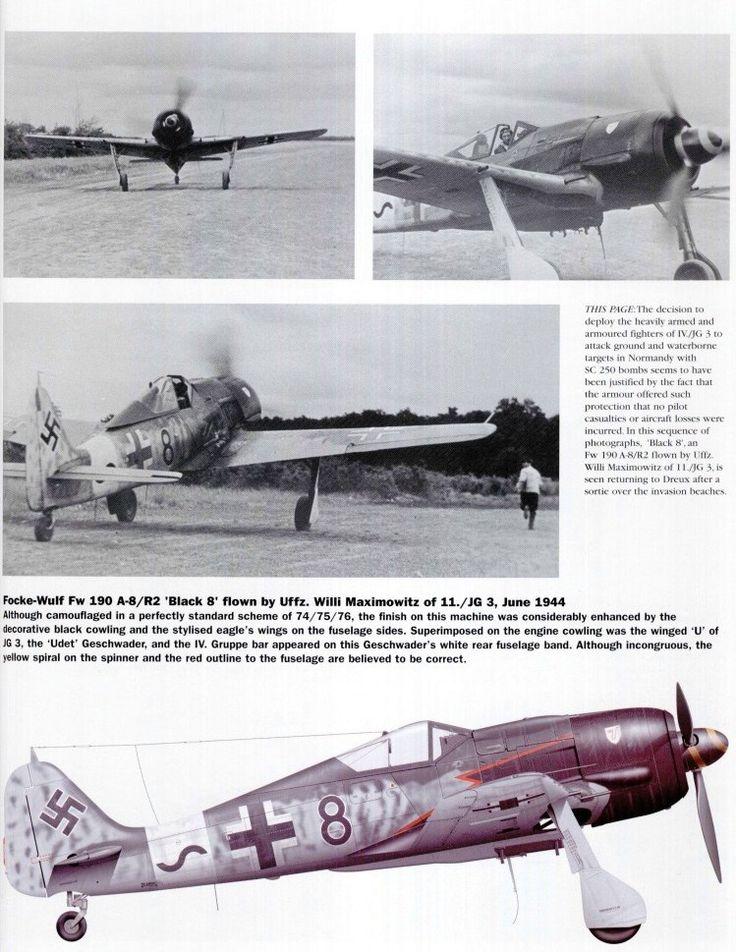 """Focke-Wulf Fw 190 A-8/R2 """"Bleck 8"""" flwn by Uffz. Willi Maximowitz of 11./JG 3 1944."""