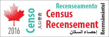Image of a stylized maple leaf and the text 2016, Census, recensement, Censo, Recenseamento, Recensamantul, and calligraphy representing the word census
