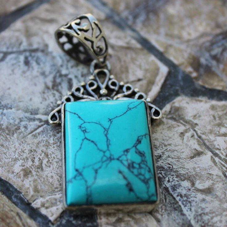 A personal favorite from my Etsy shop https://www.etsy.com/listing/253342221/turquoise-gemstone-pendent-antique