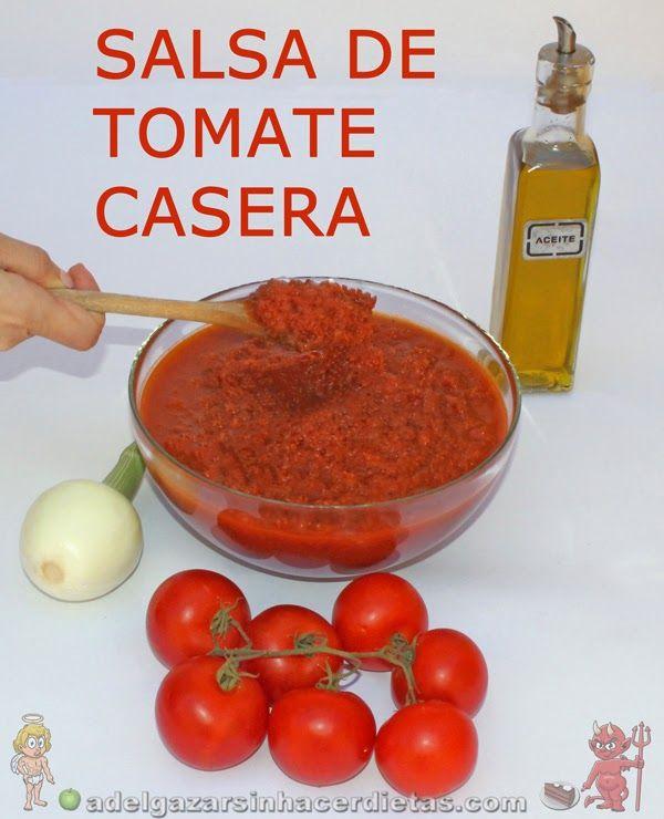 Receta saludable de SALSA DE TOMATE CASERA LIGERA baja en calorías, apta para diabéticos y baja en colesterol.