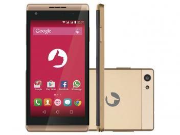 """www.magazinevoce.com.br/magazinemulhernotamil - Smartphone Positivo Selfie S455 8GB Dourado - Dual Chip 3G Câm. 5MP + Selfie 8MP Tela 4.5"""""""